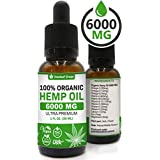 Hemp Oil Extract for Pain, Anxiety & Stress Relief – 6000MG / 30ML – Organic Hemp Oil for Better Mood, Sleep Support – Pure Hemp Seed Oil – Rich in Omega 3-6-9 Oils, Vitamins & Fatty Acids - Best Herbal Skin Care Supplement