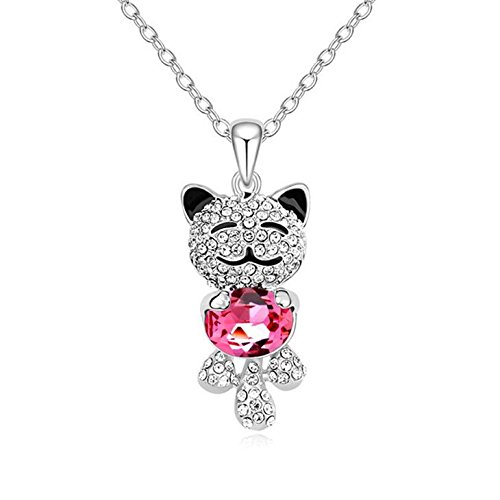 Castillna Swarovski Elements Crystal Lucky Cat Pendant Necklace Birthday Love Gift for Her Girls Daughter (Austrian Crystal Oval Necklace)