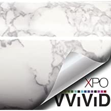 "VViViD XPO White Grey Marble Gloss Vinyl Film Contact Paper 15.9"" x 6.5ft Roll (1)"