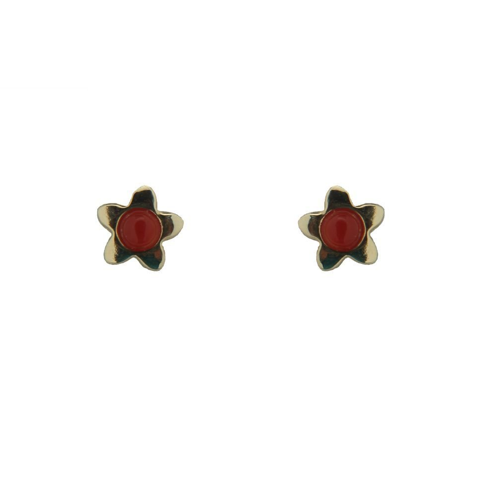 5mm 18K Yellow Gold Star with Coral paste beads Earrings with covered screwbacks