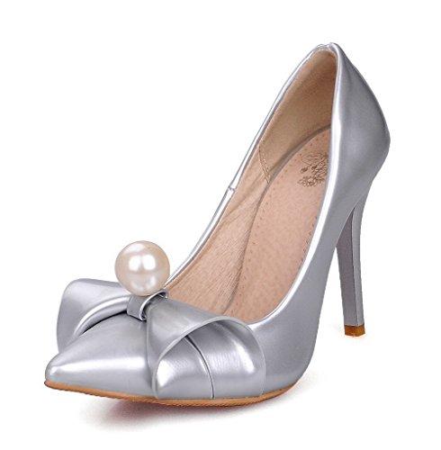 AllhqFashion Damen Spitz Zehe Ziehen auf PU Leder Eingelegt Hoher Absatz Pumps Schuhe Silber