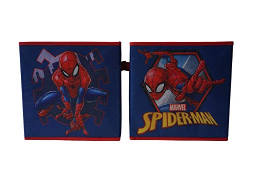 Spider Man Toy Box - Marvel Spiderman Collapsible Storage Cubes, Blue