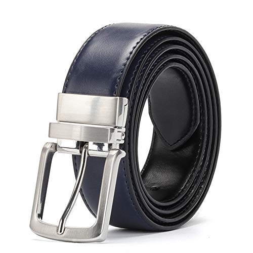 ZFADDS Men'S Leather Belt Reversible For Jeans Male Rotated Buckle Dress Belts Cowskin Leather Belts Blue-Black 125cm 42to45 Inch ()