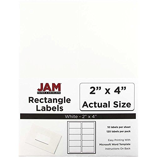 (JAM PAPER Shipping Address Labels - Standard Mailing - 2 x 4 - White - 120/Pack)