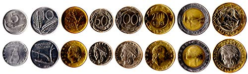 Italian 8 Coins Set 1951-2001 UNC Italian 5-1000 Lire. Old Foreign Coins, Collectible Coins for Your Coin Album, Coin Holders OR Coin Collection (Old Italian Coins)
