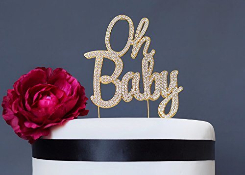 Oh Baby GOLD Cake Topper l Baby Shower Sparkly Crystal Rhinestone Cake Decoration l Baby Girl Baby Boy Gender Reveal Party l Baby Shower Gift l Perfect Keepsake l Quality (Simple Baby Shower Cakes)