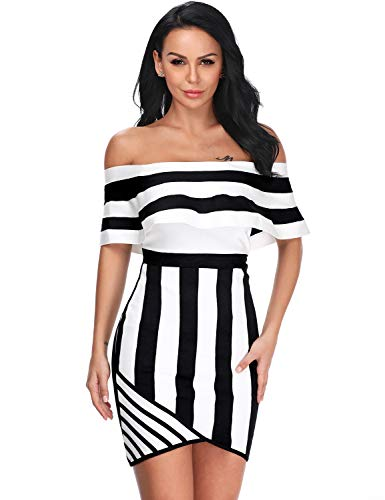 Hego Women's Black White Striped Patchwork Off Shoulder Club Night Out Party Bandage Dress H5440 (Blackwhite, M)