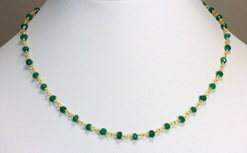 Natural Green Onyx Choker Necklace Faceted Rondelle Beads 24k Gold Plated Wire Wrapped Rosary Vermeil Chain. (20 Inch Matinee Length) ()