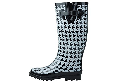 AimTrend Women's Wellies Rubber Rain and Snow Boot Houndstooth-8
