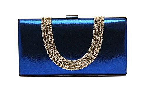 EPLAZA Large Capacity Rhinestone Beaded Women Evening Clutch Bags Handbags Wedding Party Purse (sapphire)