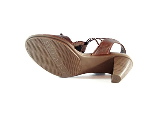 Hispanitas - Sandalia tacón marrón con flecos de mujer