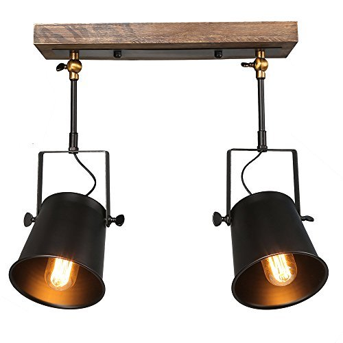 LNC Wooden Track Lighting, 3 Heads Adjustable Track Light, Farmhouse Dimmable Track Lighting Fixture, Black