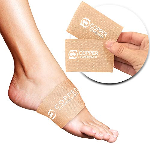 Copper Compression Copper Arch Supports - 2 Plantar Fasciitis Brace Sleeves. Guaranteed Highest Copper Content Support Sleeve. Braces for Foot Care, Heel Spurs, Feet Pain, Flat Arches (Nude Color) (Best Foot Arch Support)