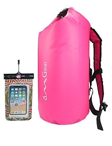 - OMGear Waterproof Backpack Waterproof Phone Pouch,30L/40L Dry Bag Sack Waterproof Bag Kayaking,Boating,Sailing,Canoeing,Rafting,Hiking,Camping,Beach,Fishing,Swimming (Pink, 40L)