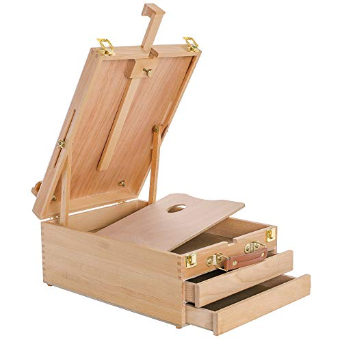 U.S. Art Supply Grand Cayman Extra Large 2 Drawer Adjustable Wood Table Sketchbox Easel