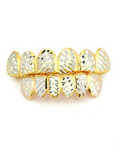 Diamond Gold Tone Grillz - Men's HQ 14K Gold Tone HIP HOP Diamond Side Cut Top & Bottom Row 6 Teeth Grillz