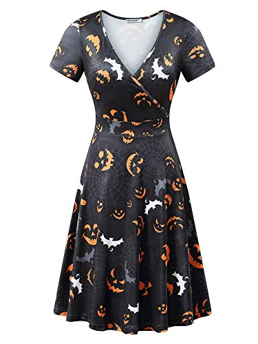 MSBASIC Scary Dress Short Sleeve Halloween Cocktail Dress (Black 2, XL) -