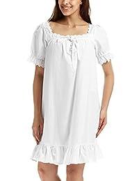 Adorneve Women's Cotton Sleepwear Soft Nightdress Victorian Vintage Nightgown