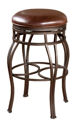 American Heritage Billiards Bella Backless Bar Height Stool with Bourbon Bonded Leather