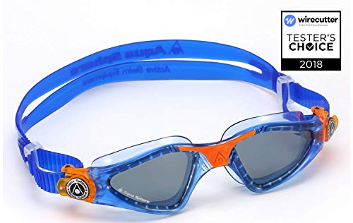 (Aqua Sphere Kayenne Junior Swim Goggles with Smoke Lens (Blue/Orange). Swimming Goggles for Kids.)