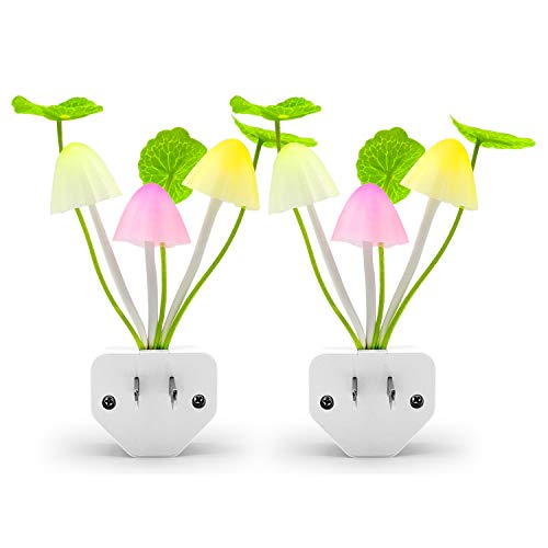 2Pack LED Night Light, Hirosa Color Changing Nursery Mushroom Light Plug in Wall Lamp with Dusk to Dawn Sensor for Kids Baby Adults Sleeping