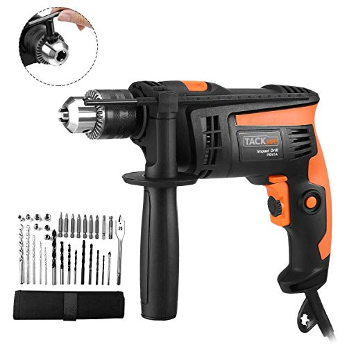 Hammer Drill 710W, 31 pcs Accessory Kit, Tacklife Impact Drill 2800 RPM...