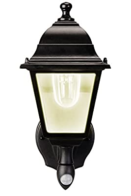 MAXSA Outdoor, Battery Powered LED Wall Sconce. Motion Activated with Cool White Light. Wireless, Metal & Glass Outdoor Porch, Entrance Light, Black 44219