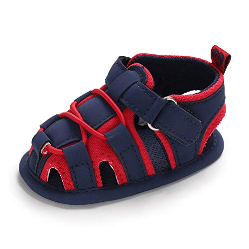 Isbasic Baby Boys Girls Summer Beach Breathable Athletic Closed-Toe Sandals Outdoor Soft Sole Anti-Slip Toddler First Walker Shoes (6-12 Months M US Infant, A-Navy Blue&red)