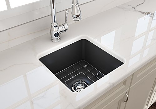 Sotto Undermount Fireclay 18 in. Single Bowl Kitchen Sink with Protective Bottom Grid and Strainer in M.Dark ()