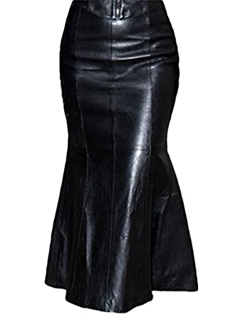 Leatherskirt Skirt Long-Skirt Leather made of genuine lambskin ...