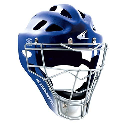 CHAMPRO Pro-Plus Hockey Style Catcher's Helmet & Mask - NOCSAE Standards (Royal, Varsity/Adult (Fits Most 7-7½))