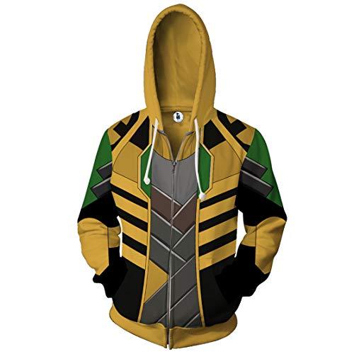 WKDFOREVER 3D Captain Fashion Cosplay Hoodie Jacket Costume (XX-Large, Loki Zipper) -