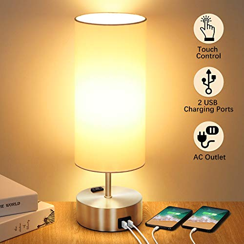 Touch Control Table Lamp with 2 Fast Charging USB Ports and Power Outlet, 3-way Dimmable Lamp Modern Bedside Lamp Nightstand Lamp for Bedroom Living Room Office Reading, 60W LED Bulb Included (Silver) (Lamps Reading Bedroom)