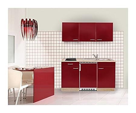 Mebasa MEBAKB15RAC MiniKüche, Küchenblock, Singleküche in Akazie / Rot hochglanz 150 cm, inkl. Kühlschrank, Ceranfeld und Ede