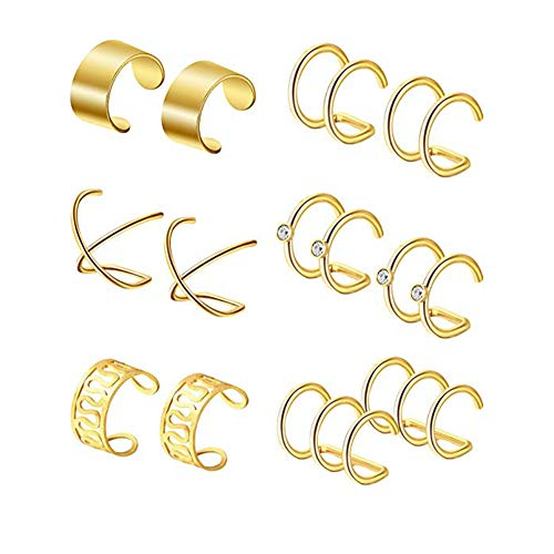 Piercing Clip - Stainless Steel Ear Clips Non Piercing Earrings Hoop Ear Cuffs Cartilage Ear Clips Set for Men Women 6 pcs