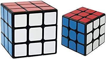 3x3x3 Sticker in 7cm and 3x3 Speed Cubes in 5.6cm - Two Sizes of Super Durable High Speed Puzzle Cubes in One Set for Learn and Play