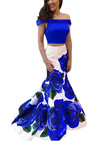 Women's Two Piece Off Shoulder Mermaid Prom Evening Dresses Long Floral Print Formal Gown Royal Blue Size 2