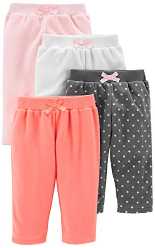 Simple Joys by Carter's Girls' 4-Pack Fleece Pants, Pink/Navy Dot/Ivory, 6-9 Months