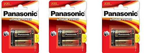 3 Panasonic 2CR5 6-Volt Photo Lithium Cylinder Batteries 2CR5M