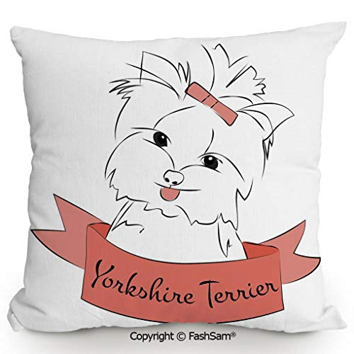 FashSam Decorative Throw Pillow Cover Cute Puppy with Hair Buckle Yorkie Terrier Animal Ribbon Cartoon Character Print Decorative for Pillow Cover for Living Room(18