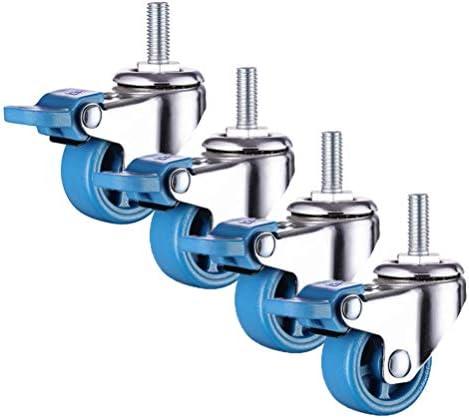 自在キャスター-青いゴム製キャスター、小型家具キャスターX4、25 / 38 / 50mm(1 / 1.5 / 2インチ)ボルト取り付け/ノイズなし/ブレーキ付き