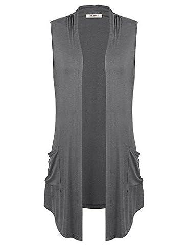 Cardigans for Women,Jazzco Womens Basic Sleeveless Open Front Slim Soft Draped Knit - Draped Sleeveless