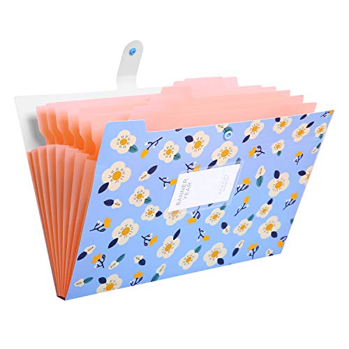 Skydue Floral Printed Expanding File Folder with 8 Pockets Accordion Document File Organizer A4 Letter Size File Jackets (Blue)