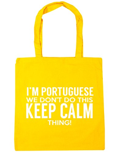 HippoWarehouse I'm Portuguese we don't do this keep calm thing Tote Shopping Gym Beach Bag 42cm x38cm, 10 litres Yellow