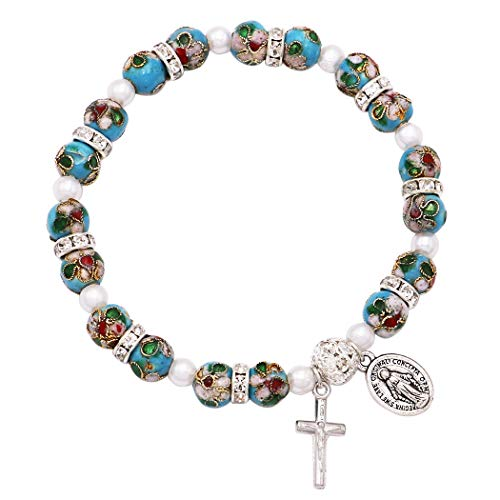 Rosemarie Collections Women's Cloisonne Beaded Stretch Rosary Bracelet with Crucifix and Miraculous Medal (Light Blue)