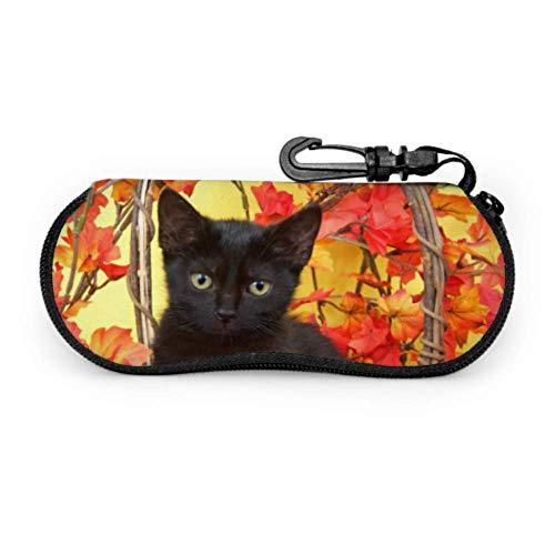 Fuzzy Black Kitten In Wicker Pumpkin Basket With Y Funny Eyeglass Case Youth Glasses Case Light Portable Neoprene Zipper Soft Case Mens Eyeglasses Case (Lights Pumpkin Wicker With)
