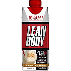 LABRADA - Lean Body Ready To Drink Whey Protein Shake, Convenient On-The-Go Meal Replacement Shake for Men & Women, 40 grams of Protein – Zero Sugar, Lactose & Gluten Free, Salted Caramel (Pack of 12)
