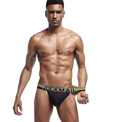 JOCKMAIL Men's Underwear,Small Briefs U Convex Men's Underwear Sexy Breathable Mesh Underwear Bottom High Fork,S (Mesh Fine Boyshort)
