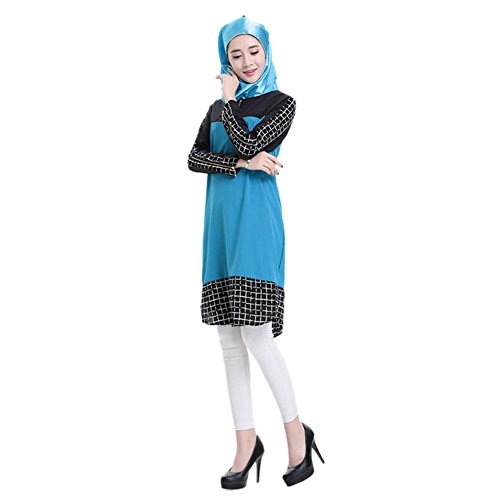 Manga Deylaying East étnica Vestidos Plaid musulmán noche Arab Turkish Robes Maxi de Middle Stitching larga Azul Mujer Ropa Kaftán islámico Vestido Dress crtrS