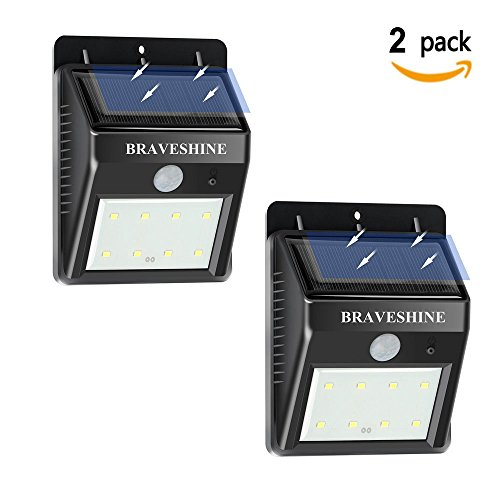 BRAVESHINE Solar Lights Outdoor, Wireless Waterproof Motion Sensor Security Night Light with Self Adhesive Hook and Loop for Wall, Patio, Deck, Yard, Garden, Fence, Driveaway-8 LEDS (2Pack-Black)